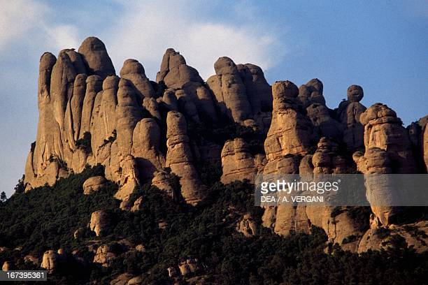 Montserrat massif peaks which were formed by erosion Catalonia Spain