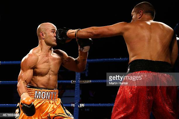 Monty Beethan fights Adam Hollioake during Super8 Fight Night at Horncastle Arena on March 28 2015 in Christchurch New Zealand