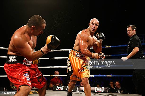 Monty Beethan knocks out Adam Hollioake L during Super8 Fight Night at Horncastle Arena on March 28 2015 in Christchurch New Zealand