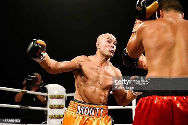 Monty Beethan L fights Adam Hollioake during Super8 Fight Night at Horncastle Arena on March 28 2015 in Christchurch New Zealand