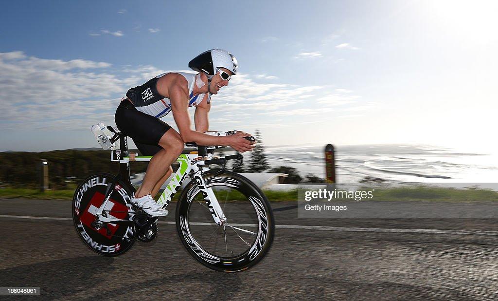 Monty Frankish of Australia competes in the Port Macquarie round of the 2013 Ironman Australia series on May 5, 2013 in Port Macquarie, Australia.