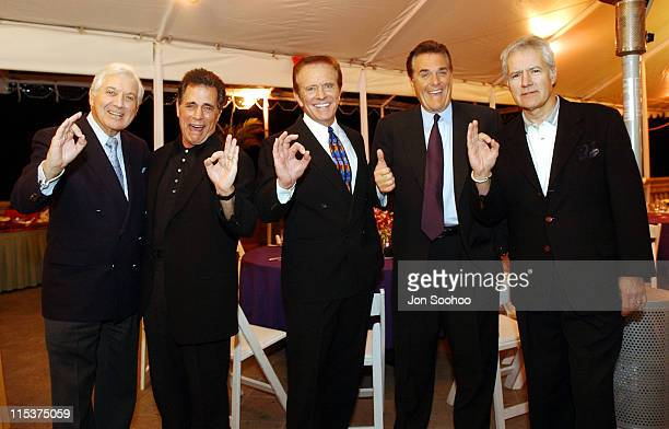 Monty Hall Peter Tomarken Bob Eubanks Chuck Woolery and Alex Trebek pose at the Ritz Carlton in Pasadena for the Game Show Network