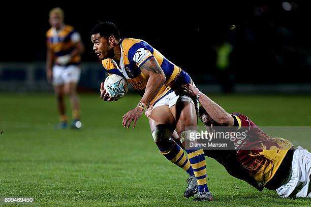 Monty Ioane of Bay of Plenty tries to break a tackle during the Mitre 10 Cup round 6 match between Southland and Bay of Plenty at Rugby Park Stadium...