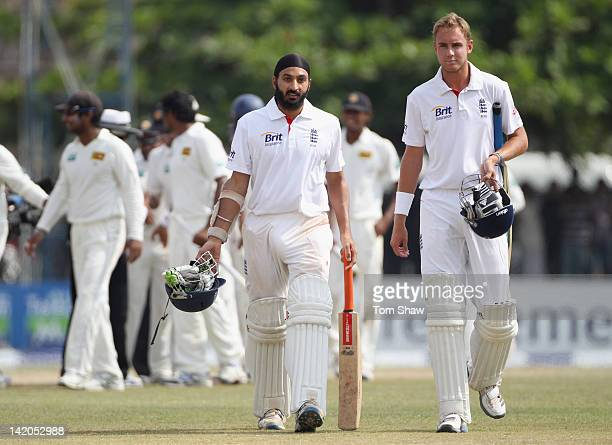 Monty Panesar and Stuart Broad of England walk off after the match during day 4 of the 1st test match between Sri Lanka and England at Galle...