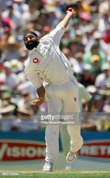 Monty Panesar bowling for England in Australia's first innings of the 3rd Test match between Australia and England at the WACA Perth Australia 14th...