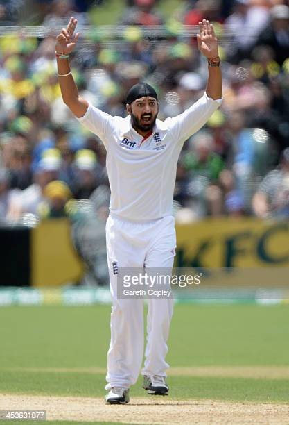 Monty Panesar of England appeals unsuccessfully during day one of the Second Ashes Test Match between Australia and England at Adelaide Oval on...