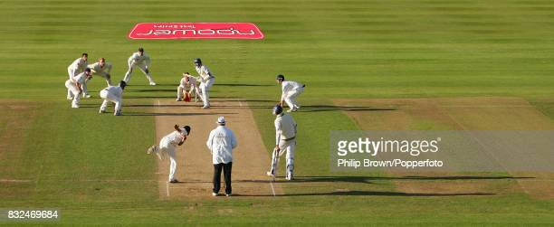 Monty Panesar of England bowls the last ball of the day to Sri Lanka's Farveez Maharoof with fielders surrounding the bat during the 2nd Test match...
