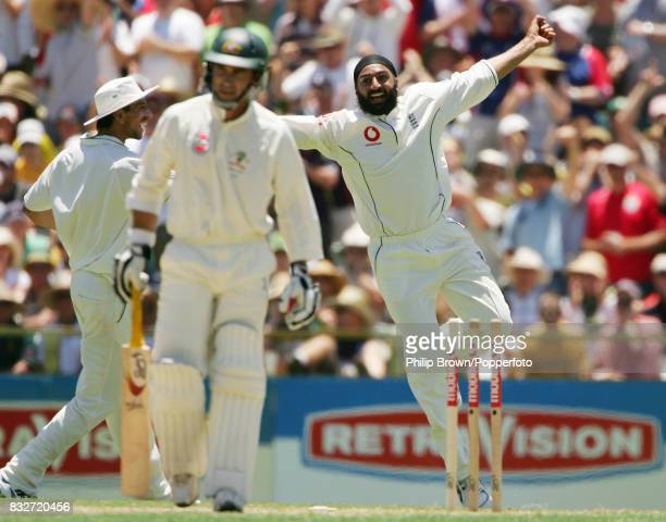 Monty Panesar of England celebrates after bowling Justin Langer of Australia for 37 during the 3rd Test match between Australia and England at the...