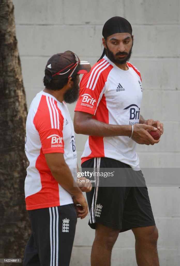 Monty Panesar of England has a chat with spin bowling coach Mushtaq Ahmed during the England nets session at the P Sara Stadium on April 1 2012 in...