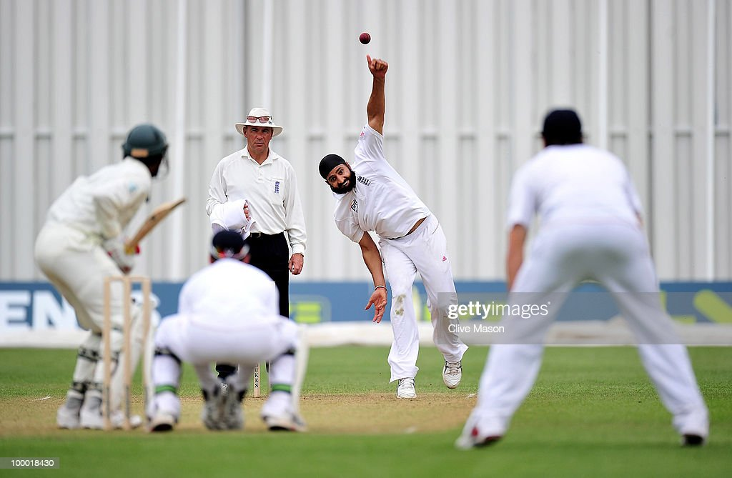Monty Panesar of England Lions in action bowling during day two of the match between England Lions and Bangladesh at The County Ground on May 20, 2010 in Derby, England.