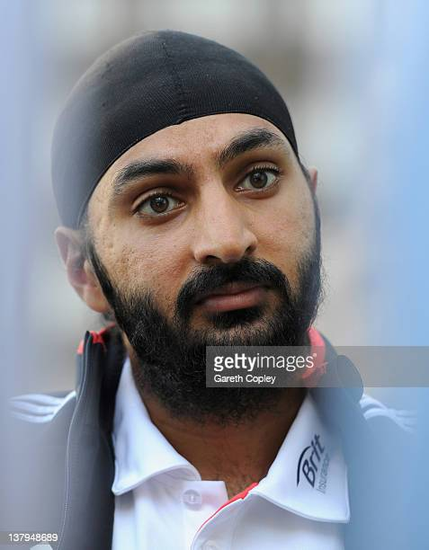 Monty Panesar of England speaks during a press conference at the team hotel on January 30 2012 in Abu Dhabi United Arab Emirates