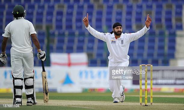 Monty Panesar of England unsuccessfully appeals during the second Test match between Pakistan and England at Sheikh Zayed Stadium on January 25 2012...