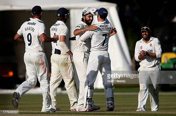 Monty Panesar of Essex celebrates taking the wicket of Alex Wakely of Northampton during day one of the LV County Championship Division Two game...