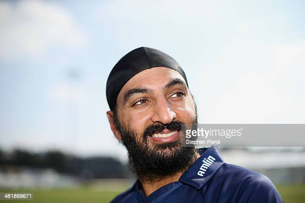 Monty Panesar of Essex poses during the Essex County Cricket Club Photocall at the County Ground on April 1 2014 in Chelmsford England