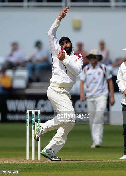 Monty Panesar of Northamptonshire bowls during day one of the Specsavers County Championship Division Two match between Northamptonshire and Kent at...