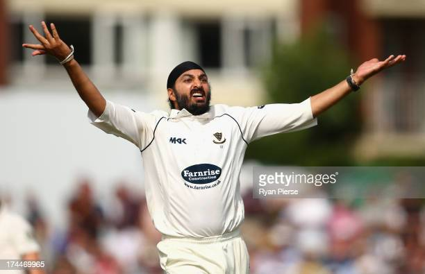 Monty Panesar of Sussex celebrates after taking the wicket of Matthew Wade of Australia during Day One of the Tour Match between Sussex and Australia...