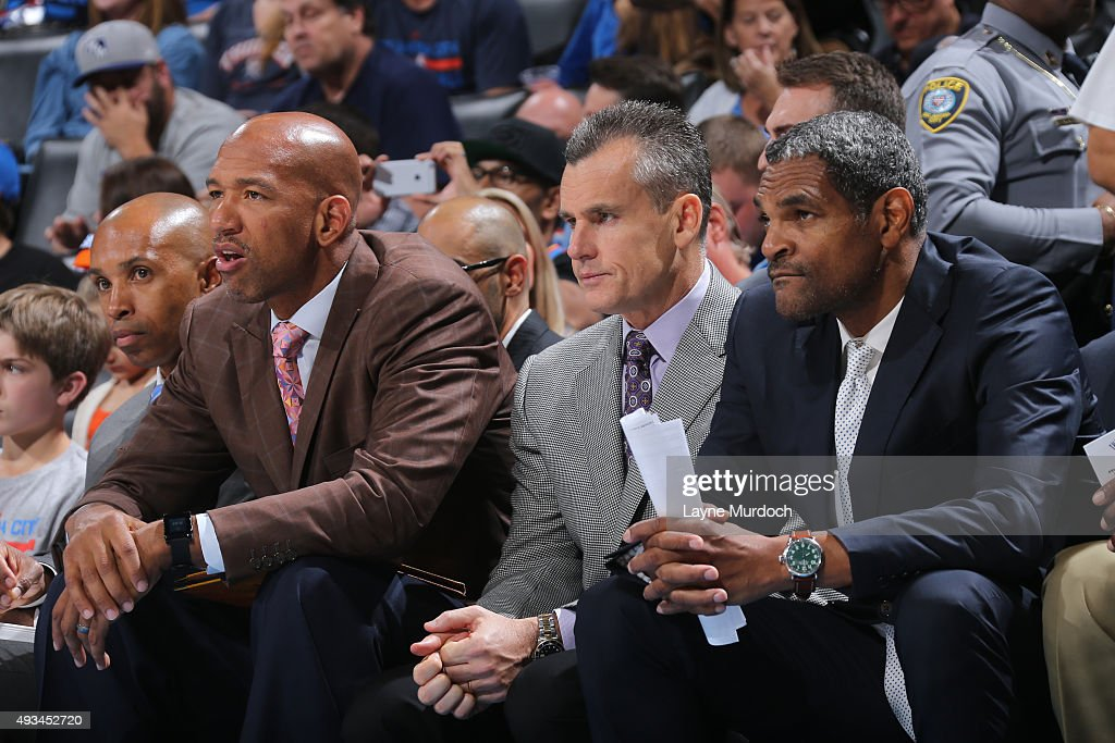 Monty Williams Billy Donovan and Maurice Cheeks of the Oklahoma City Thunder sit on the bench against Fenerbahce Ulker during a preseason game on...