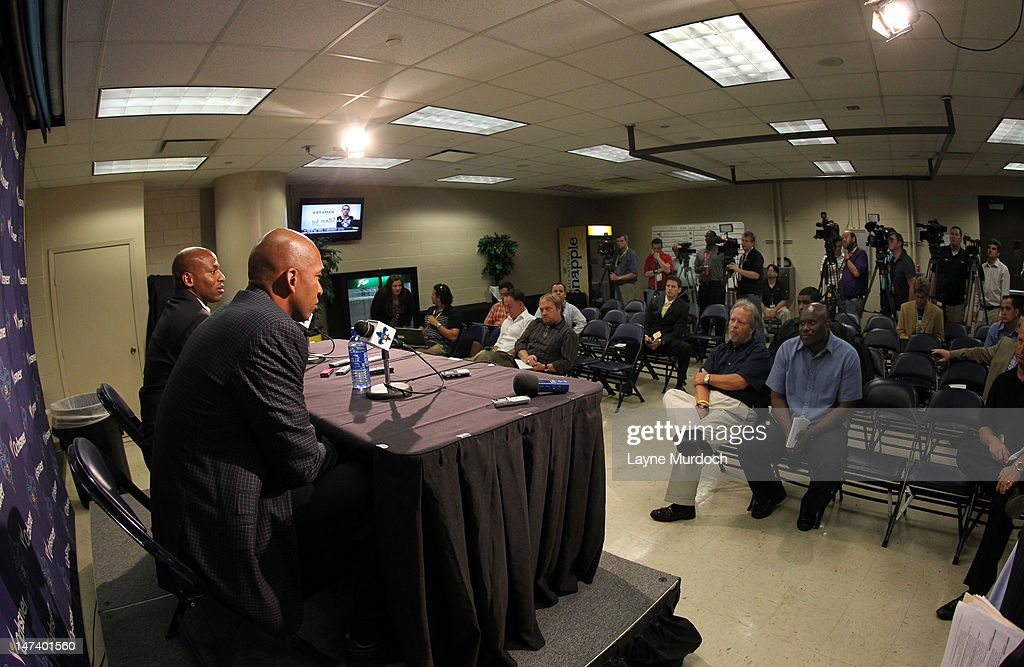 <a gi-track='captionPersonalityLinkClicked' href=/galleries/search?phrase=Monty+Williams&family=editorial&specificpeople=220489 ng-click='$event.stopPropagation()'>Monty Williams</a>, head coach of the New Orleans Hornets and Dell Demps, general manager and senior vice president of basketball operations address the media after they selected Anthony Davis of Kentucky with the 1st overall selection in the 2012 NBA draft on JUNE 28, 2012 at the New Orleans Arena in New Orleans, Louisiana.