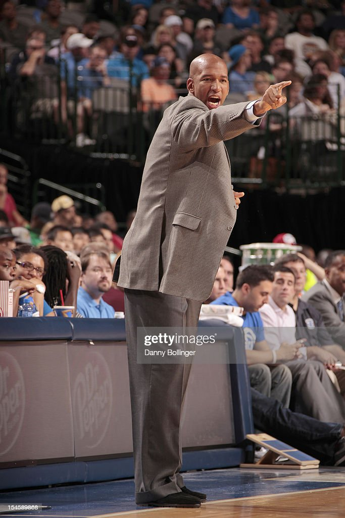 <a gi-track='captionPersonalityLinkClicked' href=/galleries/search?phrase=Monty+Williams&family=editorial&specificpeople=220489 ng-click='$event.stopPropagation()'>Monty Williams</a>, head coach of the New Orleans Hornets calls out the play against the Dallas Mavericks on October 22, 2012 at the American Airlines Center in Dallas, Texas.