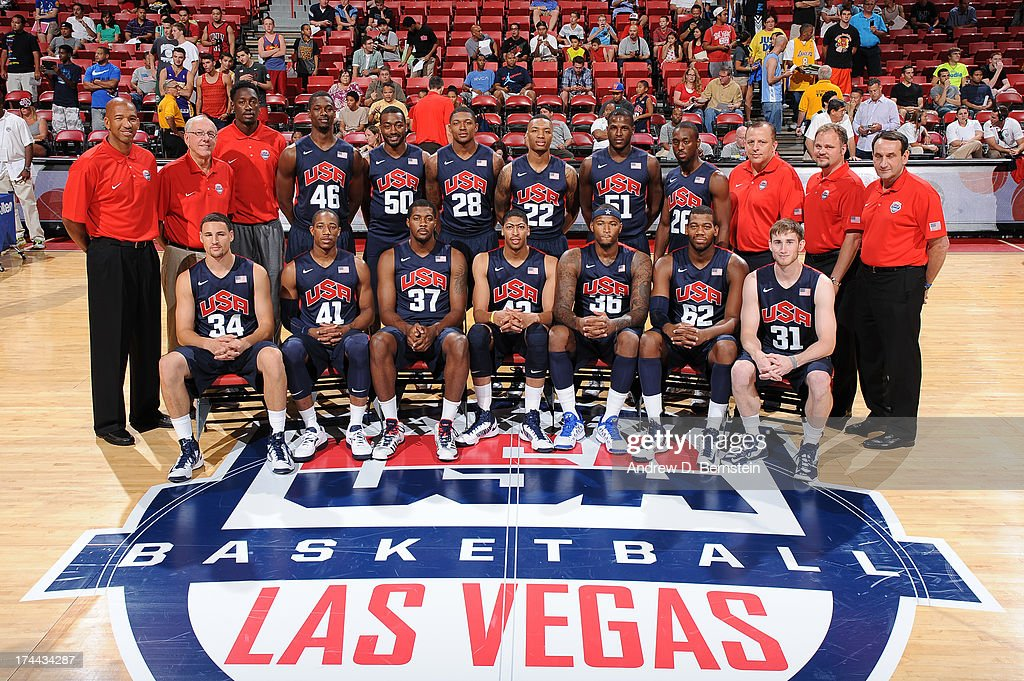 Monty Williams, Jim Boeheim, Klay Thompson, Larry Sanders, Harrison Barnes, DeMar DeRozan, John Wall, Derrick Favors, Bradley Beal, Anthony Davis, Damian Lillard, DeMarcus Cousins, Dion Waiters, Greg Monroe, Kemba Walker, Tom Thibodeau, Gordon Hayward, Gregg Farnam and Mike Krzyzewski of the USA Blue Team poses for a team photo prior to the start of the 2013 USA Basketball Showcase at the Thomas and Mack Center on July 25, 2013 in Las Vegas, Nevada.