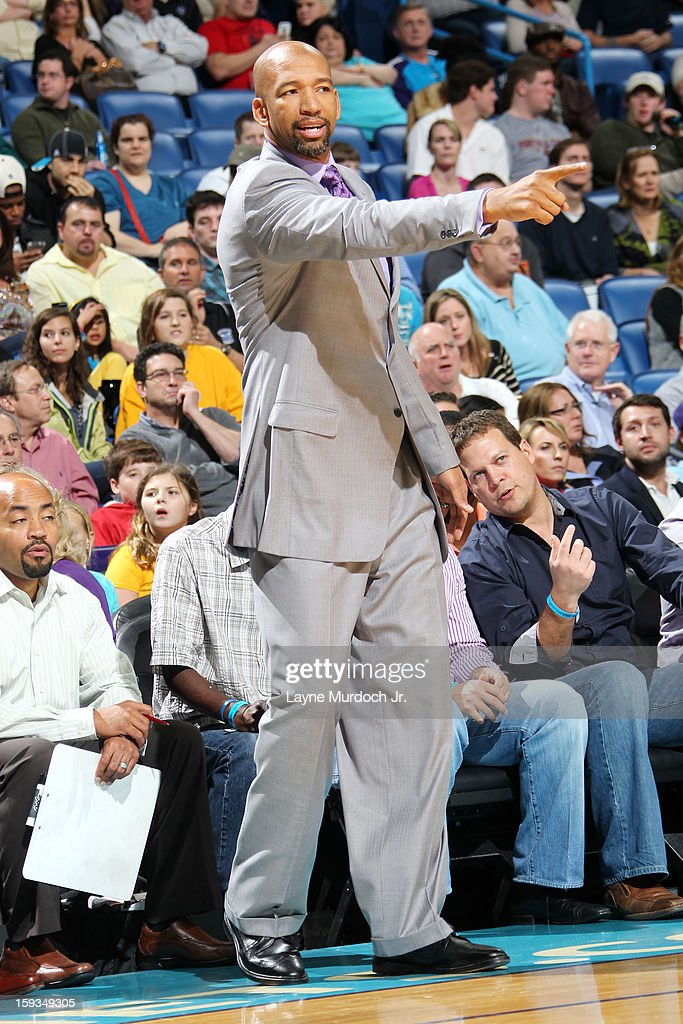 <a gi-track='captionPersonalityLinkClicked' href=/galleries/search?phrase=Monty+Williams&family=editorial&specificpeople=220489 ng-click='$event.stopPropagation()'>Monty Williams</a> of the New Orleans Hornets calls plays from the bench in the game against the Minnesota Timberwolves on January 11, 2013 at the New Orleans Arena in New Orleans, Louisiana.