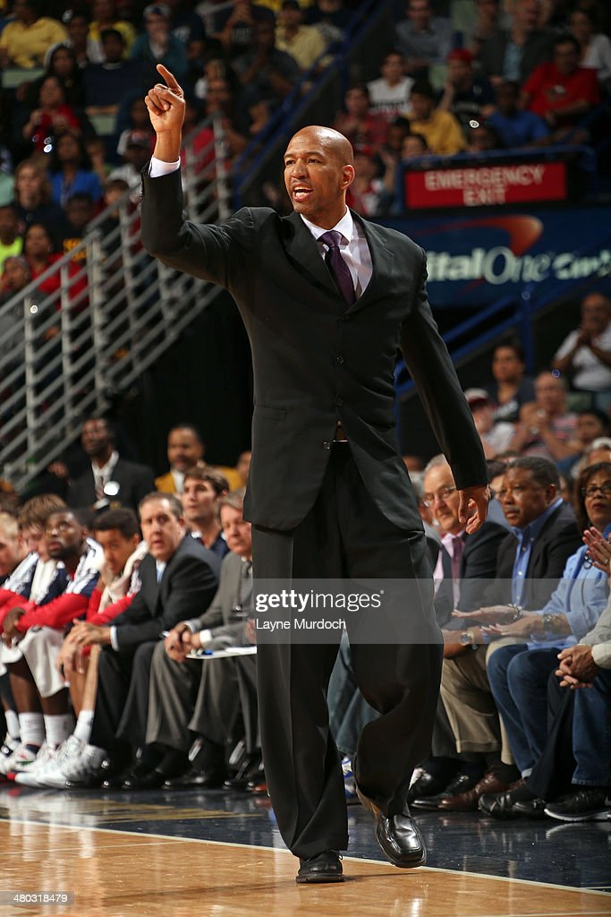 Monty Williams of the New Orleans Pelicans coaches against the Miami Heat during an NBA game on March 22, 2014 at the Smoothie King Center in New Orleans, Louisiana.