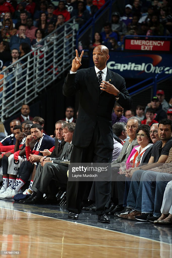 <a gi-track='captionPersonalityLinkClicked' href=/galleries/search?phrase=Monty+Williams&family=editorial&specificpeople=220489 ng-click='$event.stopPropagation()'>Monty Williams</a> of the New Orleans Pelicans coaches from the bench against the Los Angeles Lakers on November 8, 2013 at the New Orleans Arena in New Orleans, Louisiana.