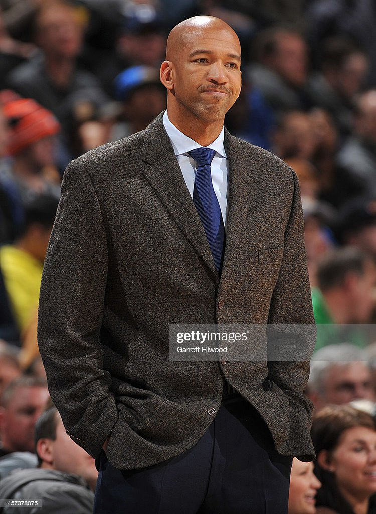 <a gi-track='captionPersonalityLinkClicked' href=/galleries/search?phrase=Monty+Williams&family=editorial&specificpeople=220489 ng-click='$event.stopPropagation()'>Monty Williams</a> of the New Orleans Pelicans during the game against the Denver Nuggets on December 15, 2013 at the Pepsi Center in Denver, Colorado.