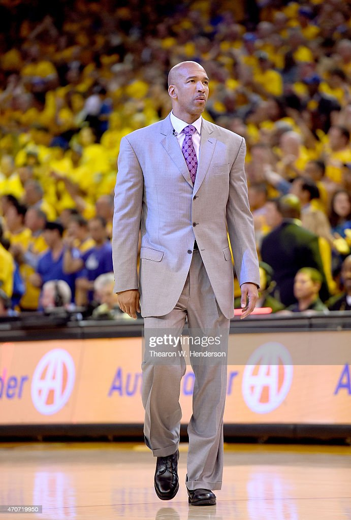 Monty Williams of the New Orleans Pelicans looks on during a break in the action against the Golden State Warriors in the third quarter during the...