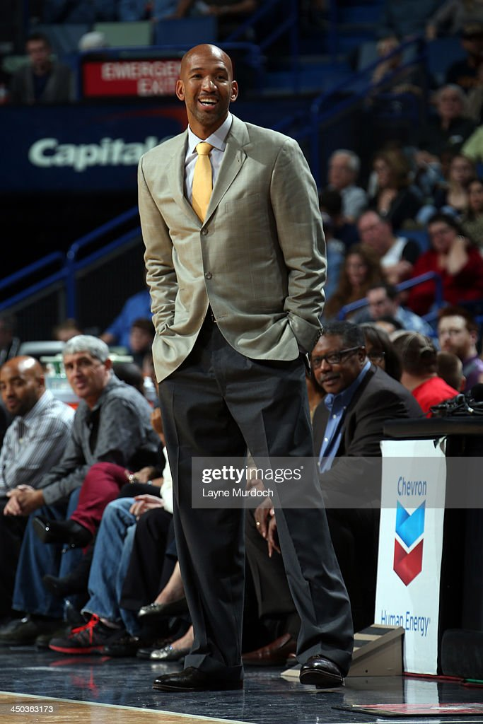 <a gi-track='captionPersonalityLinkClicked' href=/galleries/search?phrase=Monty+Williams&family=editorial&specificpeople=220489 ng-click='$event.stopPropagation()'>Monty Williams</a> of the Philadelphia 76ers smiles during the game against the New Orleans Pelicans on November 16, 2013 at the New Orleans Arena in New Orleans, Louisiana.