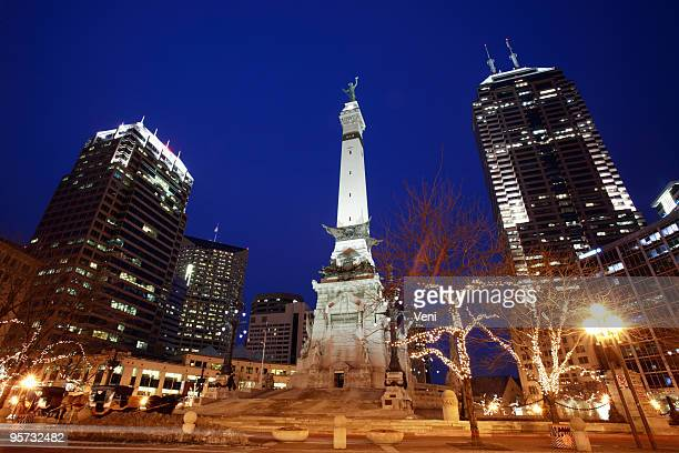 Monument Circle in Indianapolis, Indiana at night