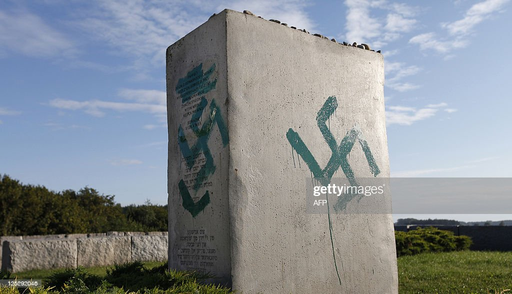 A monument commemorating the pogrom of Jews in the village of Jedwabne Poland is found vandalized on September 01 2011 Unknown offenders devastated...