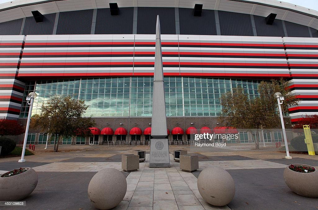 A monument dedicated to Georgia Veterans stands outside the Georgia Dome home of the Atlanta Falcons football team in Atlanta Georgia on NOVEMBER 23...