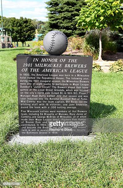 A monument honoring the 1901 Milwaukee Brewers sits outside Miller Park home of the Milwaukee Brewers baseball team on September 13 2015 in Milwaukee...