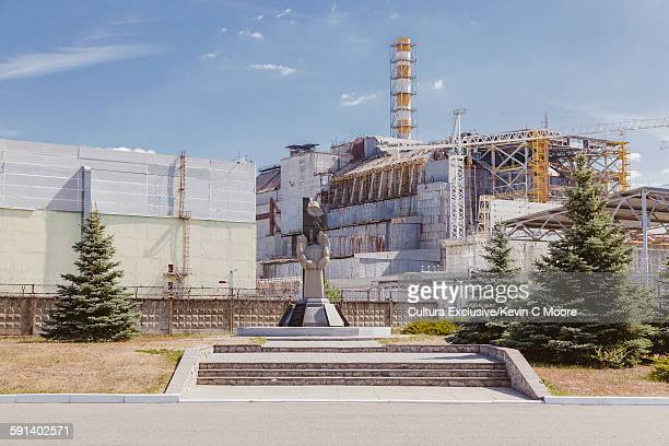 Monument in front of Chernobyl nuclear reactor in the Chernobyl Exclusion Zone, Ukraine