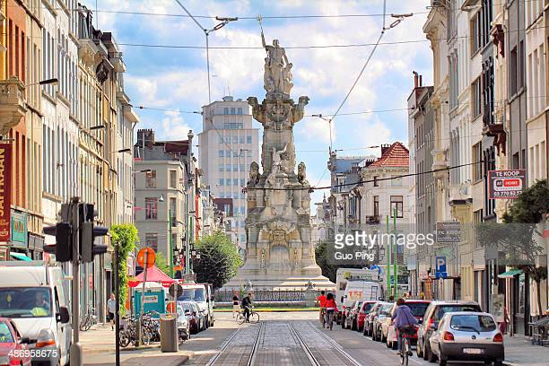 monument in the middle of the city street in Antwerp Belgium