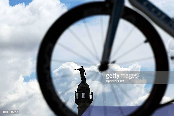 A monument is viewed through the wheel of a time trial bike at the start of stage 19 of the Tour de France on July 24 2010 in Bordeaux France The...