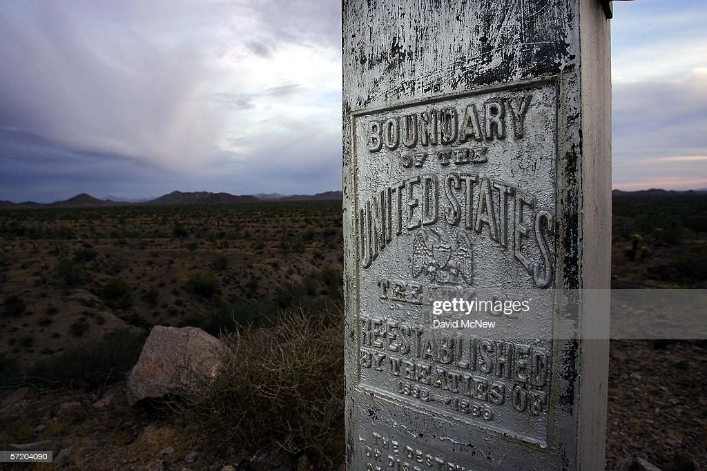 A monument marks the boundary between Mexico and the United States at the Cabeza Prieta National Wildlife Reserve on March 27 2006 near Ajo Arizona...