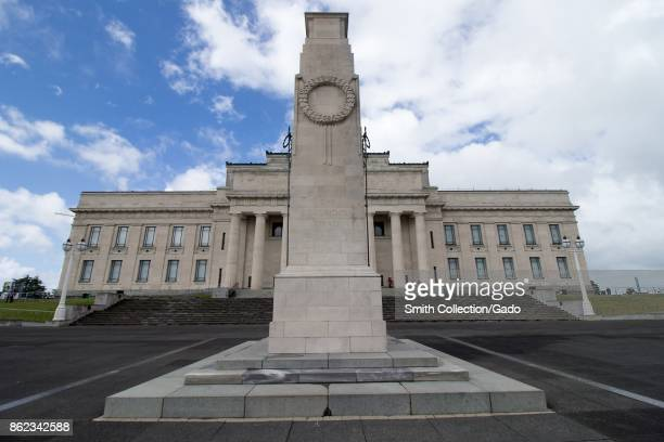 Monument outside the Auckland War Memorial Museum with inscription reading 'The Glorious Dead' in Auckland New Zealand October 11 2017