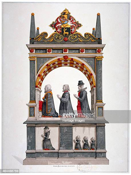 Monument to Alderman Richard Humble and family St Saviour's Church Southwark London c1700 A fine altar tomb under a canopy with the kneeling figures...