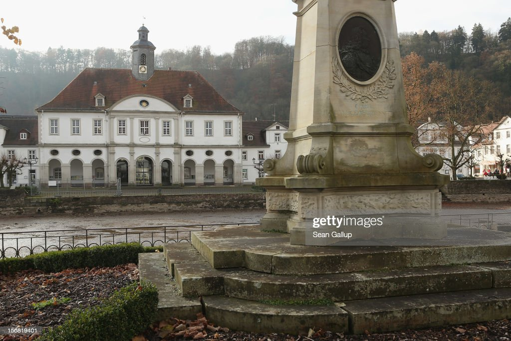 A monument to Landgrave Karl of Hessen-Kassel stands opposite town hall on November 19, 2012 in Bad Karlshafen, Germany. Bad Karlshafen was heavily settled by Huguenot refugees in the early 18th-century and lies along the 'Fairy Tale Road' (in German: Die Maerchenstrasse) that leads through the region between Frankfurt and Bremen where the Grimm brothers collected and adapted most of their fairy tales, which include such global classics as Sleeping Beauty, Little Red Riding Hood, Rapunzel, Cinderella and Hansel and Gretel, in the early 19th century. Among the most important sources for many of the tales was Huguenot descendant Dorothea Viehmann.The 200th anniversary of the first publication of the stories will take place this coming December 20th.