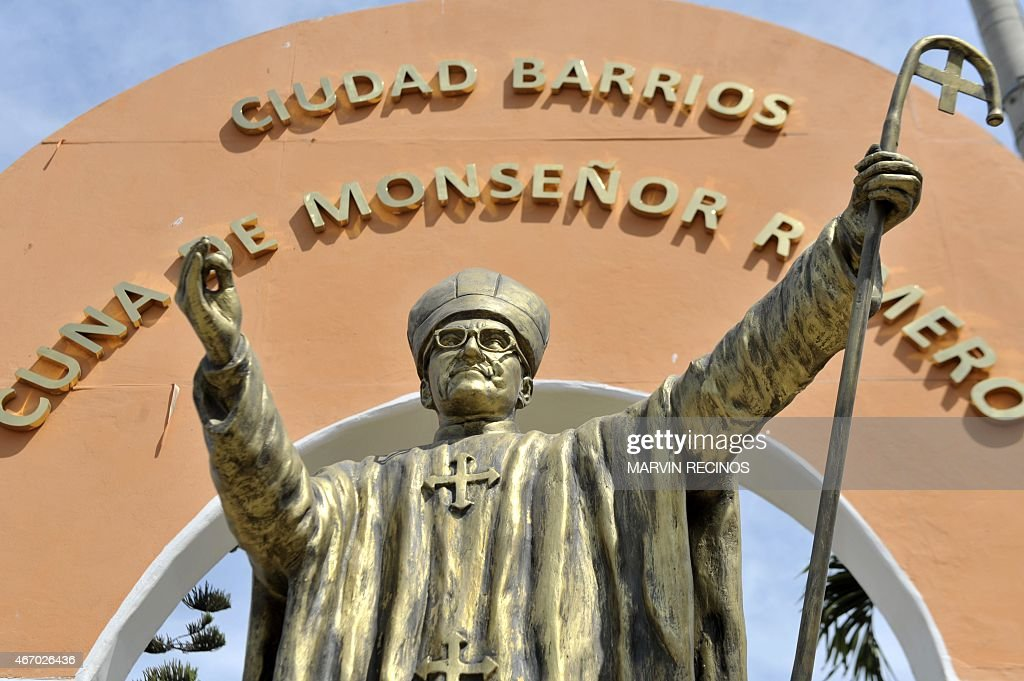 A monument to Monsignor Oscar Romero, in the main square of Ciudad Barrios, 160 km from San Salvador, the place where Monsignor Romero, who will be beatified next May 23 was born. AFP PHOTO / Marvin RECINOS