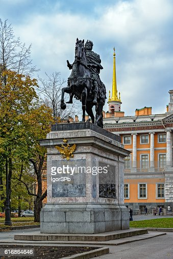 Monument to Peter the Great in Saint Petersburg : Stock Photo