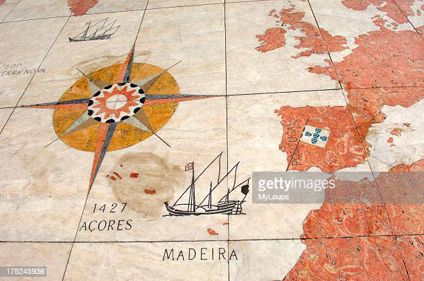 Monument to the Discoveries Padrao dos Descobrimentos mosaic decoration showing a world map Belem Lisbon Portugal