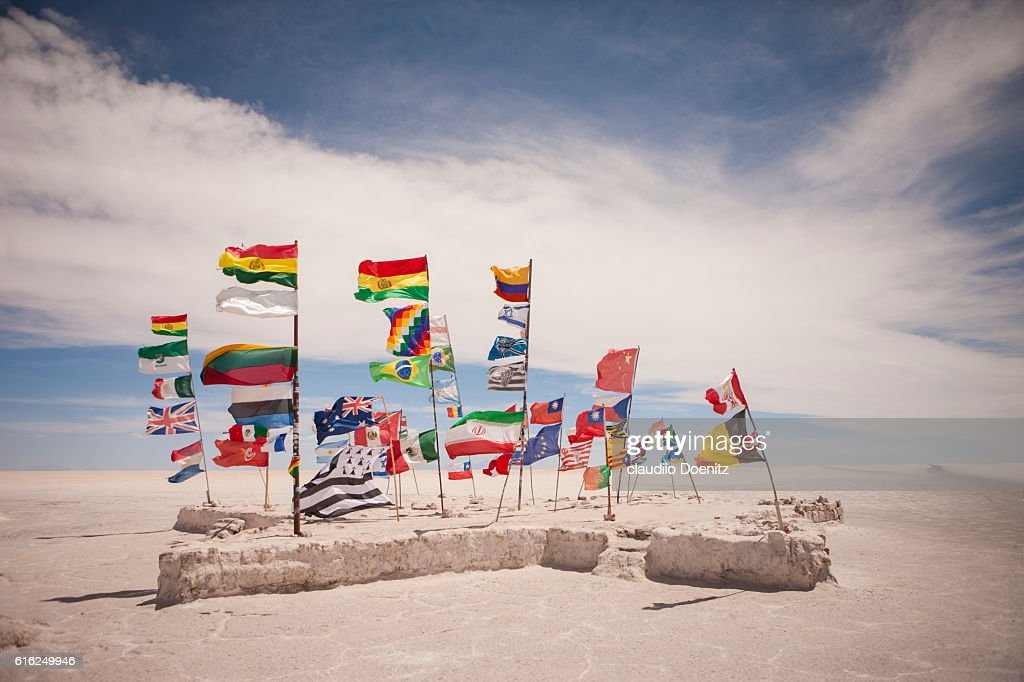 monument to the flags of the world, Uyuni Salt Flats : Stock Photo