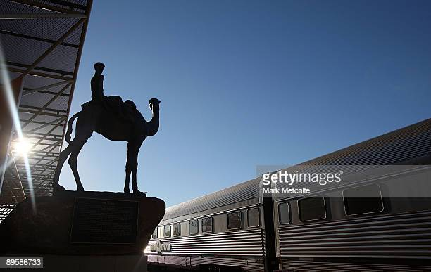 A monument to the Ghan looks over the train at Alice Sprints train station on August 3 2009 in Northern Territory Australia The commemorative trip...