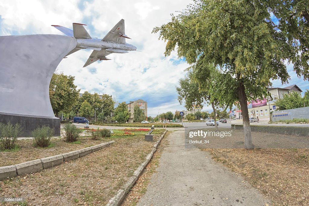 Monument to the MIG-21 in Mozdok : Stock Photo