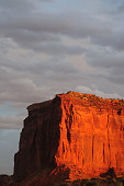 A Classic Mesa in Monument Valley in Arizona  during sunset.