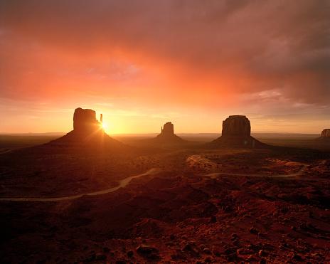 Monument Valley desert landscape at sunset