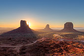 Beautiful sunrise over iconic Monument Valley, Arizona.